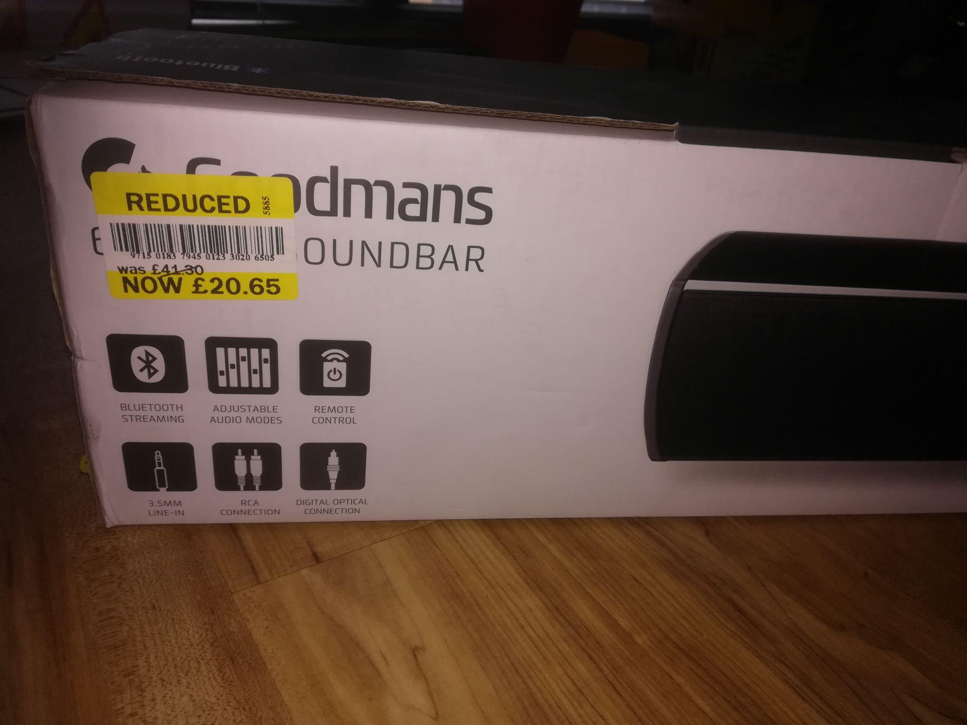 Tesco: Goodmans 60W 2.1 Soundbar instore for £20.65