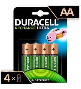 Duracell Recharge Ultra Type AA Batteries 2500 mAh, pack of 4 @ Amazon (With Redeemable Voucher) - £4.35 Prime / £8.85 non-Prime