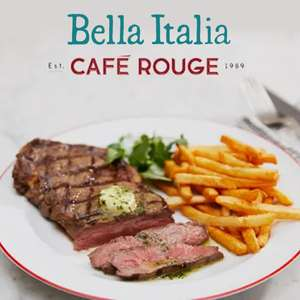 Enjoy 2 for 1 on mains at Bella Italia and Café Rouge Veryme Vodafone