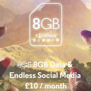 Voxi data promo - £10 for 8GB / 20GB for £15
