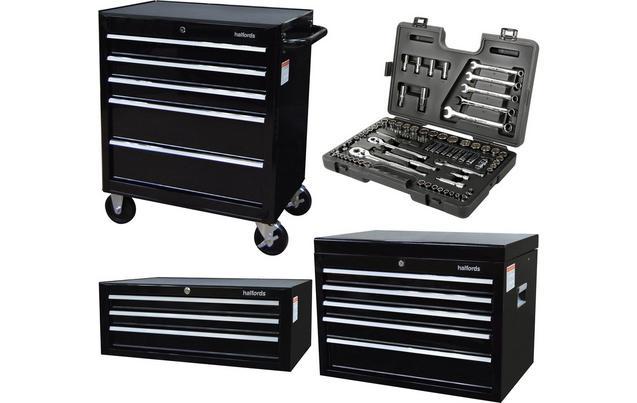 Halfords Tool Chest and Cabinet Bundle + Free Halfords 90 Piece Socket Set  £349 at Halfords Free C&C