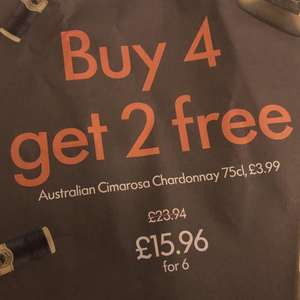 6 bottles of Australian Chardonnay for £15.96 at Lidl buy 4 get 2 free