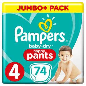Pampers Baby-Dry Size 4, 74 Nappy Pants, 9-15kg - £10 @ Boots