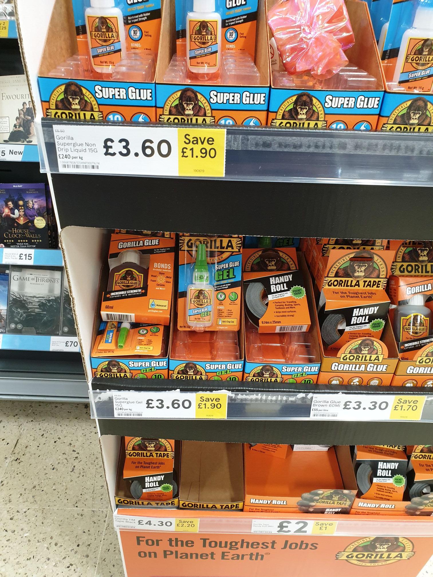 Gorilla Super Glue Gel  £3.60 @ Tesco  instore & online