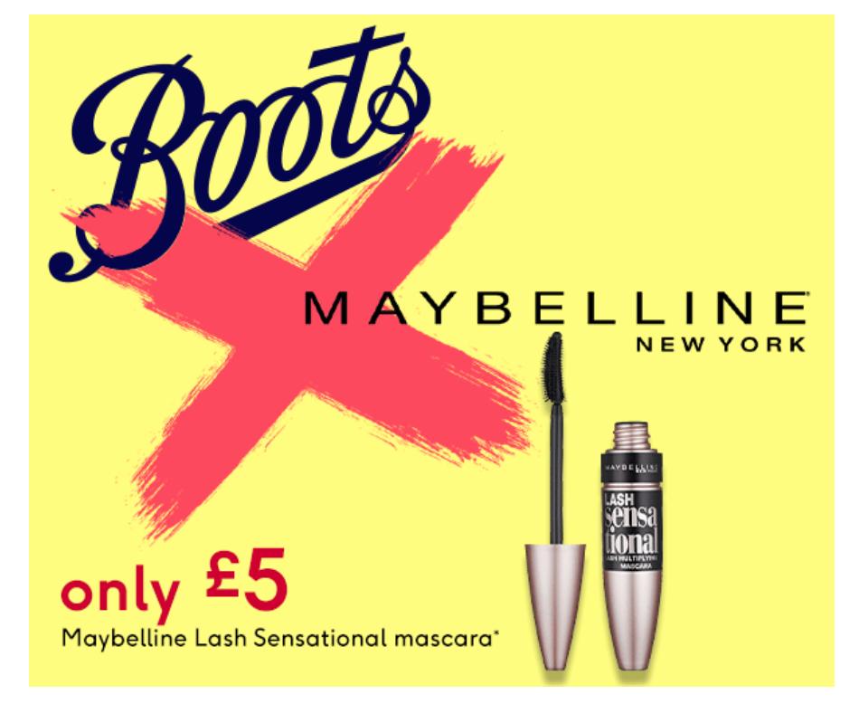 Maybelline Lash Sensational Mascara only £5 @Boots