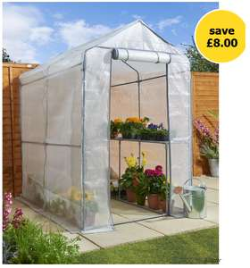 Wilko Walk in PE Greenhouse with Cover and Shelf Staging H190 x W120 x D190cm (More in OP)- £32 + Free C&C @ Wilko