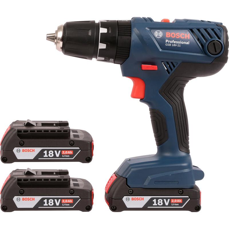 Bosch GSB 18V-21 18V Li-Ion Combi Drill 3 x 2.0Ah - £124.98 @ Toolstation