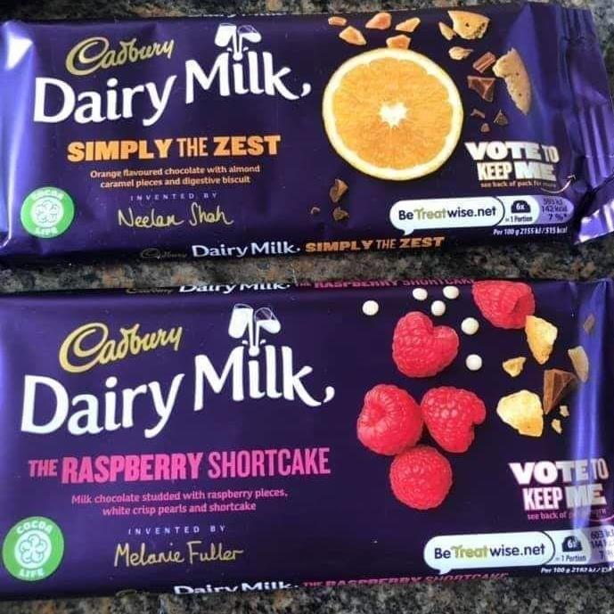 Poundland - Cadburys dairy milk new flavours - Simply The zest / the Raspberry Shortcake £1