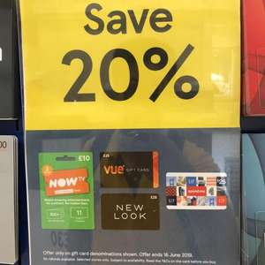 Tesco selected gift card 20% off
