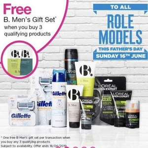 Free SUPERDRUG MENS B gift set with  just a minimum spend of £2.85 with three selected men's products - Superdrug