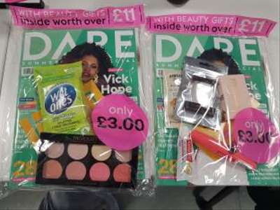 DARE magazine with £11 of beauty products for £3 at Sainsburys, Tescos and WH Smith