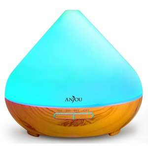 Wood Grain Essential Oil Diffuser 300mL with 7 LED Color Options, Cool Mist Waterless + Auto Shut-Off £16.69 with promo @ Amazon / SVT