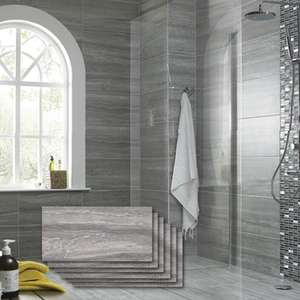 Wickes Everest Slate Porcelain Tiles - Pack of 6 - 600x300mm £9.72 per pack / Coverage 1.08 m2 @ Wickes