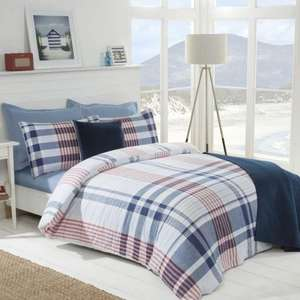 Julian Charles Up to 80% Off + Extra 10% Off with code & Free C+C eg Nautical Check Cotton Rich Reversible Blue Duvet Set was £30 now £7.20