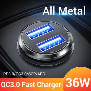 FIVI 36W Metal Dual USB Quick Charge QC 3.0 Car Charger - £1.60 @ Aliexpress / FIVI 3C Specialty Store