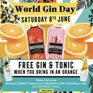 FREE Beefeater Gin & Tonic, at more than 900 Greene King pubs