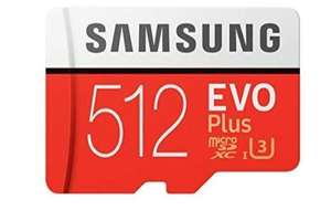 Samsung Memory 512 GB EVO Plus Micro SD Card £99.28 [£69.28 With Cashback] with Adapter @ Amazon