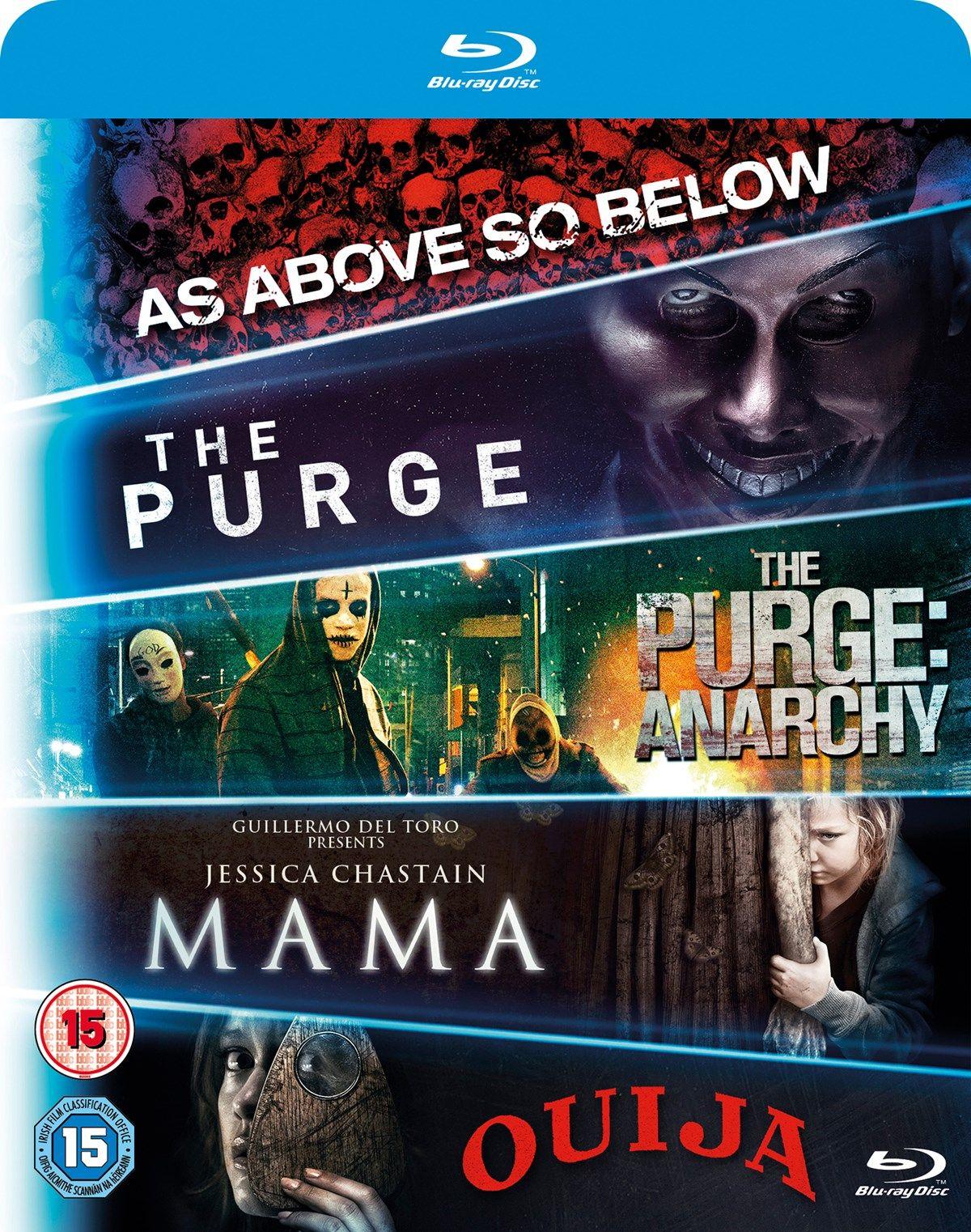 Mama/The Purge/The Purge Anarchy/Ouija/As Above So Below Blu Ray box set £10 @ zoom