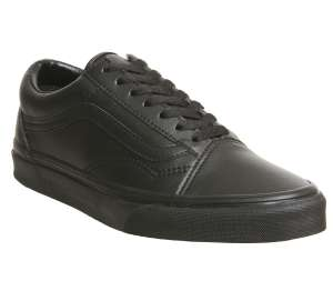 Vans Old Skool Black Leather trainers now £25 (Sizes 3, 8 & 9) @ Office shoes. Free c+c or £3.50 delivery