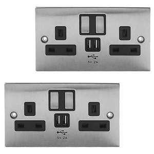 Pack of 2 Power Knight 2 Gang Brushed Chrome Switched Sockets with USB charge ports 2.0A output £14.80 Delivered @ 7dayshop