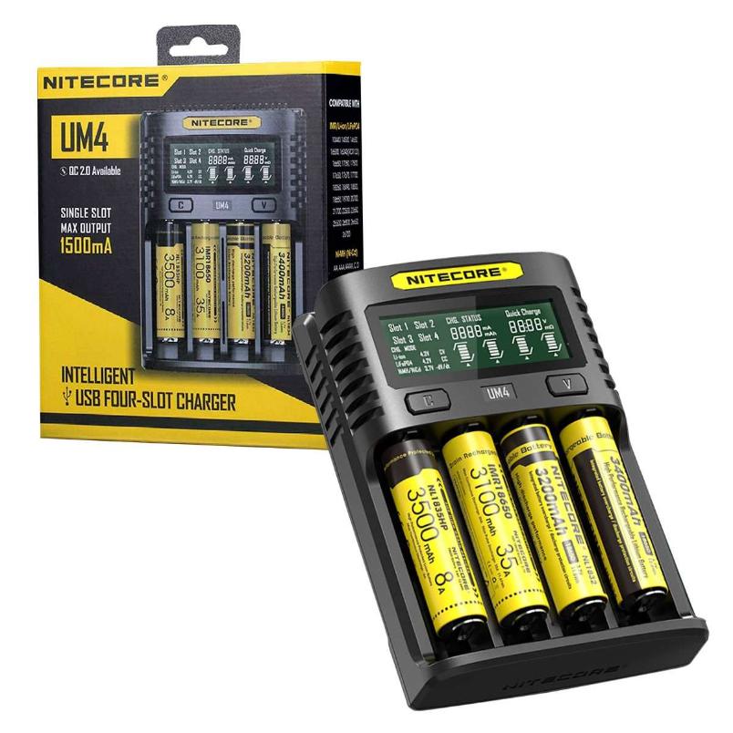 Nitecore UM4 USB Quadro 4 Slot Battery Charger for AA, AAA, AAAA, Li-Ion, 18650, 26500, etc, £13.99 @ 7dayshop