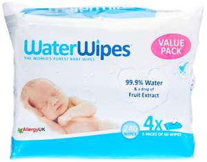 FREE WaterWipes (4 x 60) pack worth approx £10 when you spend £20 on Amazon Wishlist items