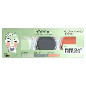L'Oreal Paris Pure Clay Multi Masking Face Mask Play Kit 3x10ml- 56p @ Superdrug