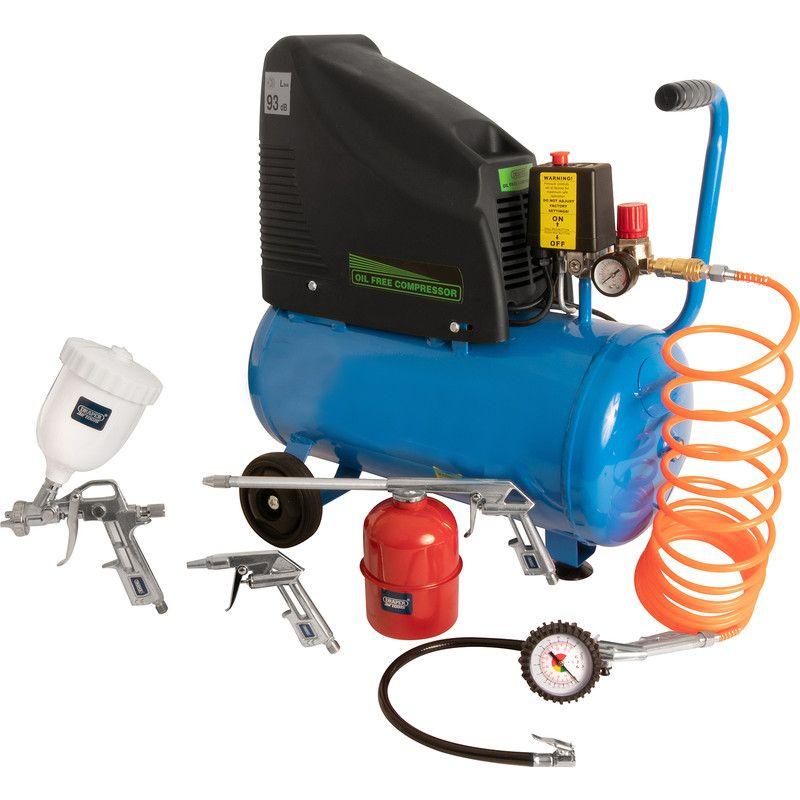 Draper 24L Oil-Free Air Compressor & 5pc Air Tool Kit 230V - £99.98 @ Toolstation