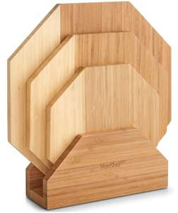 Set of 3 Bamboo Chopping Serving Boards With Stand + 2 Year Warranty - £12.99 delivered @ Vonshef