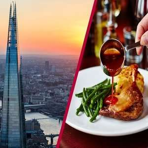 The View from The Shard with 3 Course Dining and Bubbly for Two People £63.75 with code @ BuyAGift