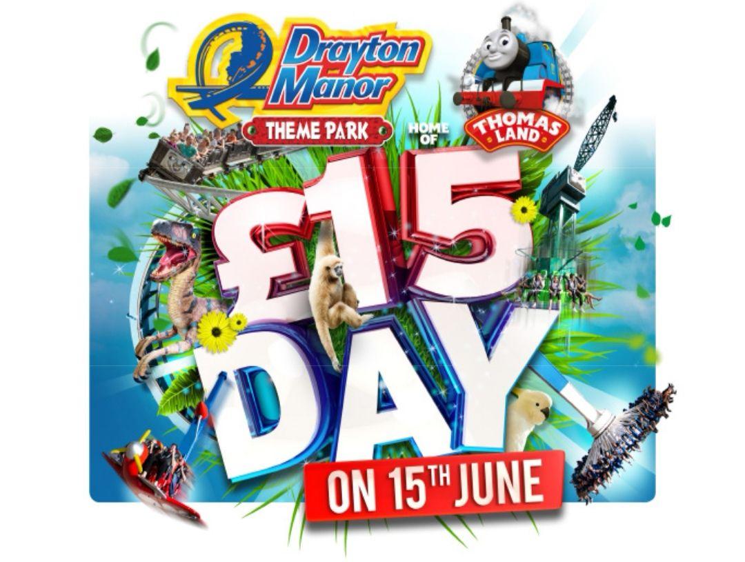 £15 tickets at Drayton Manor for Saturday 15 June at Drayton Manor Shop