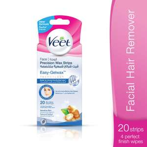 Veet Face Cold Wax Strips for Normal Skin, 10 Double Sided Strips, Pack of 20 - £2 (Prime) / £6.49 (non Prime) at Amazon