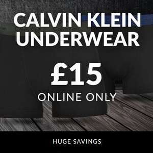2 pack of Calvin Klein cotton stretch underwear for £15  + £4.99 delivery / c&c at Sports Direct