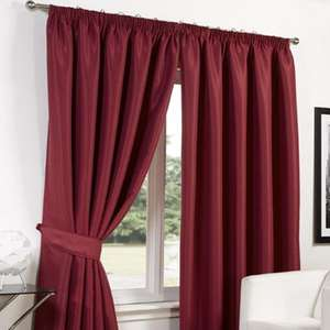 Faux Silk Blackout Curtains in Red / Basket Weave Tape Top Curtains - £4.99 Delivered per pair w/tiebacks @ Online Home Shop - Sizes in OP
