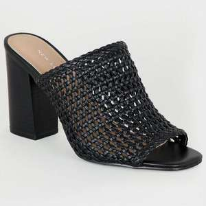 Black Leather-Look Woven Peep Toe Mules, Sizes 5,7 and 8 - £15 at New Look Shop