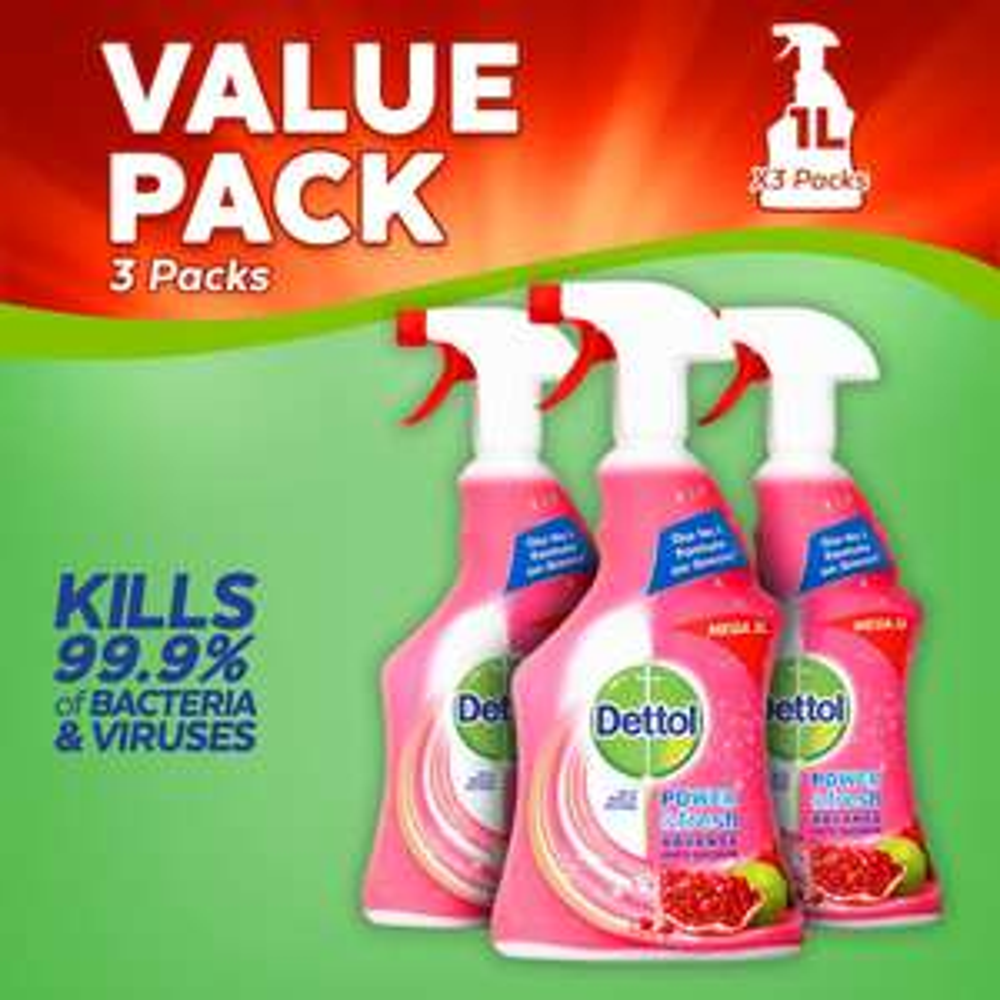 Dettol Clean & Fresh Multi-Purpose Cleaning Spray,Pomegranate & Lime Splash 1 Litre, Pack of 3 for £4.50 Prime (+£4.49 Non Prime)@ Amazon UK