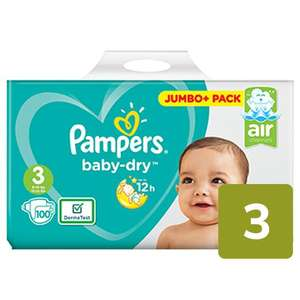 Pampers Baby Dry Nappies Size 3 Jumbo Pack 100 per pack 2 for £19 @ Ocado