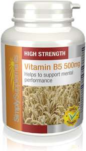 Vitamin B5 Tablets 500mg - 180 Tablets - 70% Off & Free Delivery via SimplySupplements - For Those Who Suffer From Tiredness & Fatigue