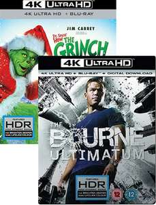 The Bourne Ultimatum 4K UHD+BR / War Dogs 4K / Inferno 4K used £6.50 / The Grinch 4K UHD+BR / Baywatch 4K UHD + BR used £7.50 delivered@ Cex