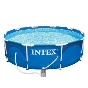 Steel frame pool, 366 x 84cm, filter system, cover, thermometer, dosing float, surface skimmer £35 instore @ Aldi