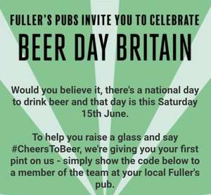 FREE PINT AT FULLERS Pubs - Account Specific / Newsletter Signup Required