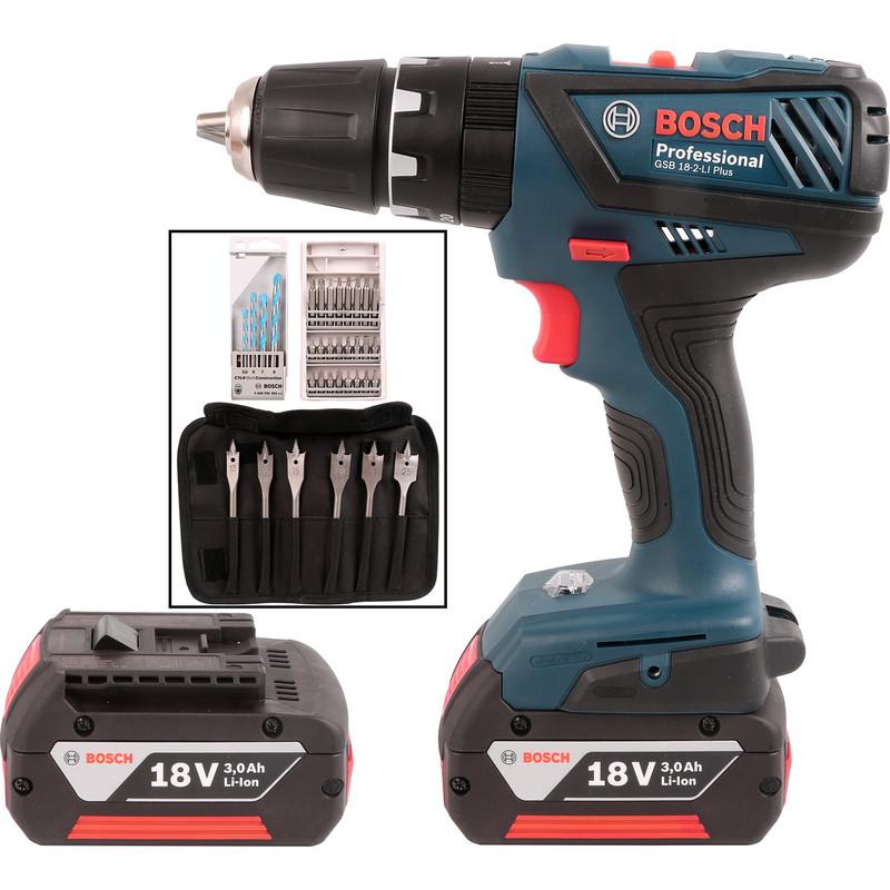 Bosch GSB 18-2-LI 18V Li-Ion Cordless Combi Drill & 34 Piece Accessory Kit 2 x 3.0Ah - £134.98 at Toolstation