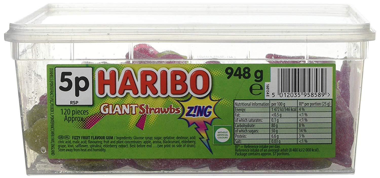 Haribo Giant Strawbs Sour Sweets, 948g Bulk tub £3.23 Amazon - add on item