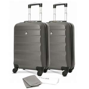 "2 Piece Aerolite 21"" (55cm) ABS Hard Shell Cabin Hand Luggage Set with 4 Wheels + 2 Towels £42.99 delivered @ Travel Luggage & Cabin Bags"