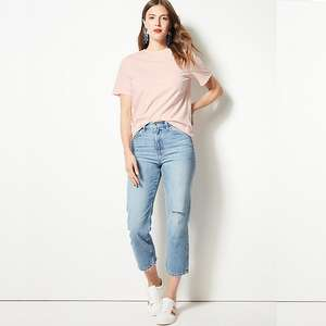 (3 for 2 offer) Pure cotton straight fit T shirt 20 colours, £4.50 each or 3 for £9, free c&c @ M&S (Also good fit for men)