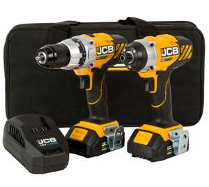 JCB Cordless 18V 2Ah Li-ion Brushed Drill & impact driver with 2 batteries with 1pc 50mm Double Ended Screwdriver Bit £100 @ B&Q