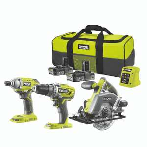 Ryobi ONE+ Cordless 18V 2Ah ONE+ Brushed Drill, impact driver & circular saw 2 batteries with 6 accessories - £190 @ B&Q
