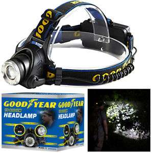 Goodyear Head Light Torch Lamp Headlamp Cree LED Rechargeable Flashlight 6000LM £12.34 Delivered at eBay - ThinkPrice