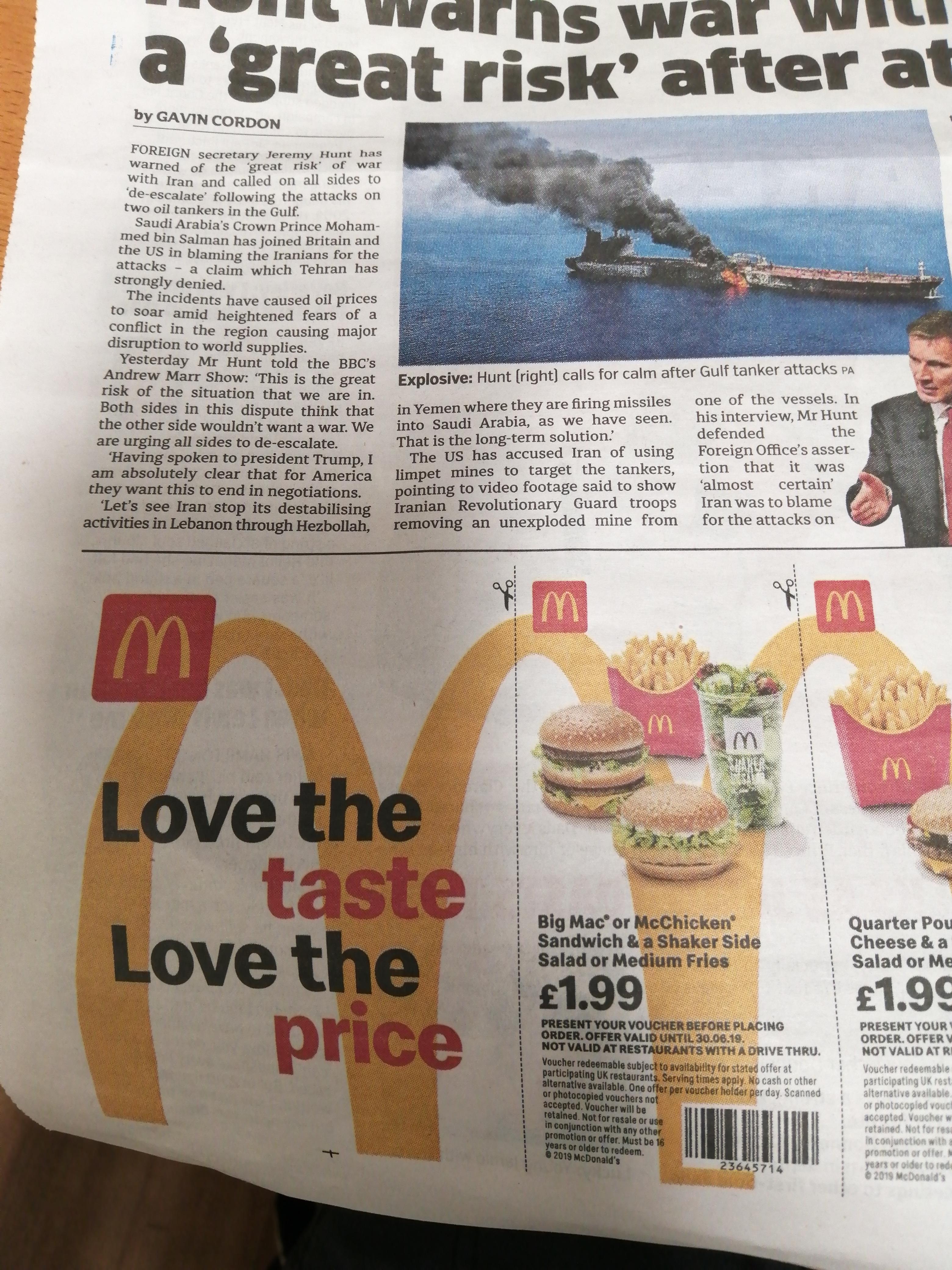 McDonald's vouchers - Today's London Metro