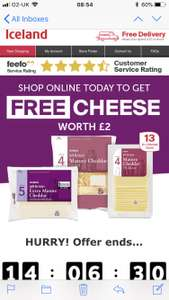 Free £2 Cheese with Iceland Online Orders £25+